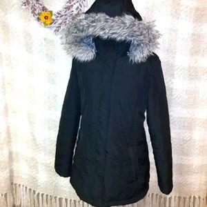 Women's large Free Tech black/gray fur hooded coat